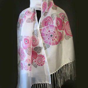 rózsaszín, szürke virágos selyemsál